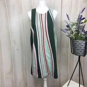 Maeve 70's Retro Green Keri Striped Sheath Dress